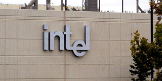 outside view of building with intel logo on side of building.