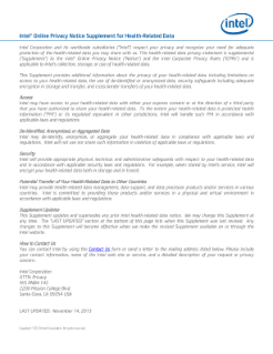 Intel® Online Privacy Notice Supplement for Health-Related Data