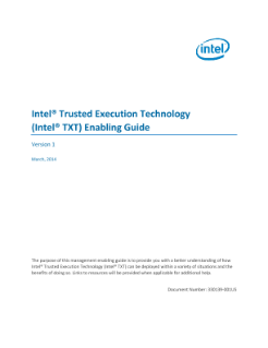 Intel® Trusted Execution Technology (Intel® TXT) Enabling Guide