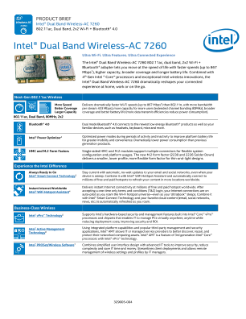 Intel® Dual Band Wireless-AC 7260 Plus Bluetooth 4.0*: Product Brief