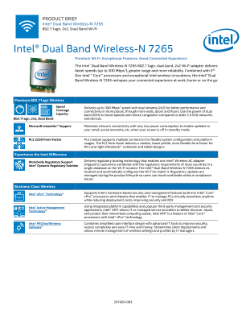 Intel® Dual Band Wireless-N 7265: Product Brief