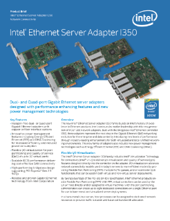 Intel® Ethernet Server Adapter I350: Product Brief