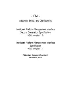 IPMI Specification, V2.0/1.5, Rev. 5: Addendum