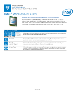 Intel® Wireless-N 7265 with Bluetooth® Adapter: Product Brief