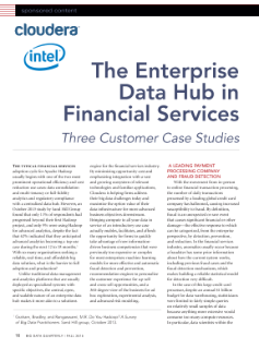 The Enterprise Data Hub in Financial Services