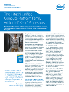 Hitachi Unified Compute Platform* with Intel® Xeon® Processors