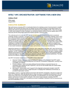 Intel HPC Orchestrator - Software for a New Era