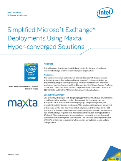 Simplified Microsoft Exchange* Deployments Using Maxta Solutions