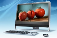 Three tomatoes on a computer screen